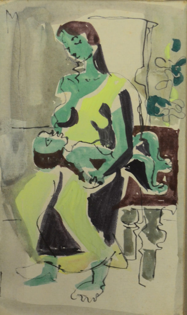 <em<strong>Untitled</strong></em>. Pen and watercolour on paper, 4 x 7 inches, 1953