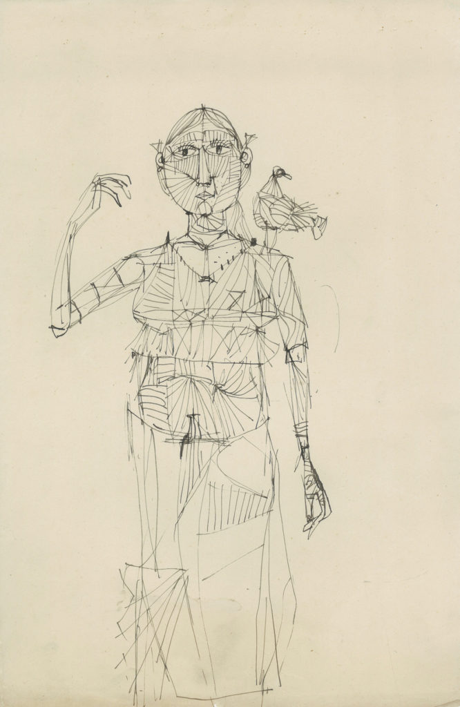 <em><strong>Untitled</strong></em>. Pen and ink on paper 9.5 x 14.75 inches, 1959-60