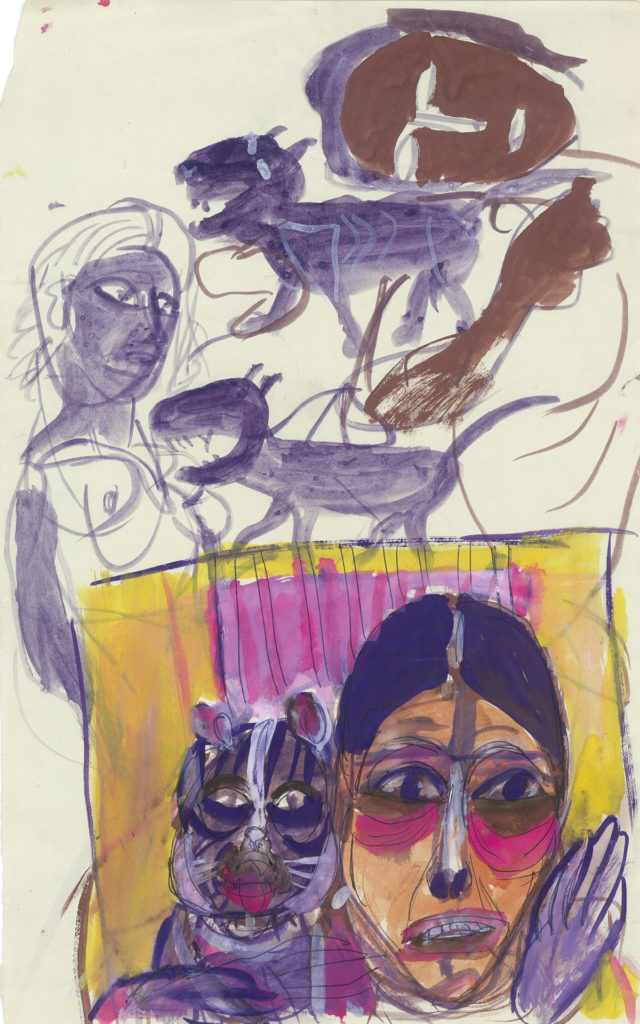 <em<strong>Untitled</strong></em>. Ballpoint pen and watercolour on paper, 8 x 12.75 inches, 1979