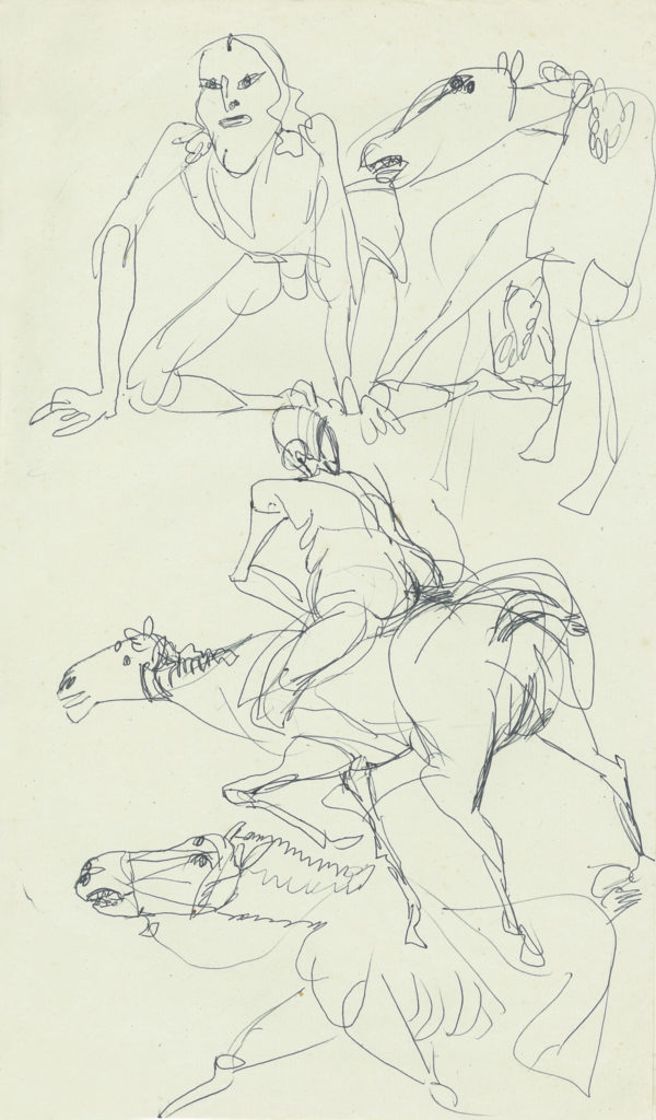 <em><strong>Untitled</strong></em>. Ballpoint pen on paper, 8 x 12.75 inches, 1986