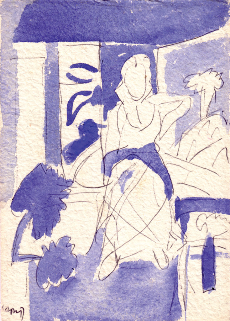<em<strong>Untitled</strong></em>. Ballpoint pen and watercolour on paper, 5.25 x 7.5 inches, 1994