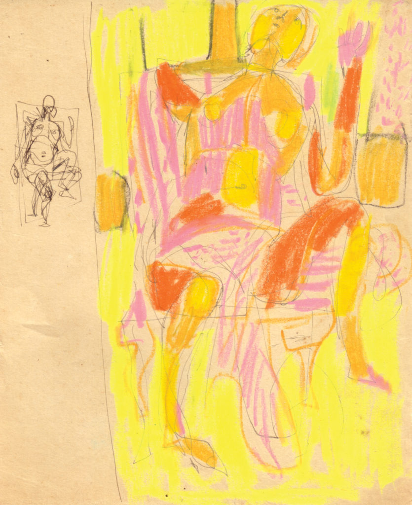 <em><strong>Untitled</strong></em>. Pen and crayon on paper, 6.5 x 8.5 inches, c.1964