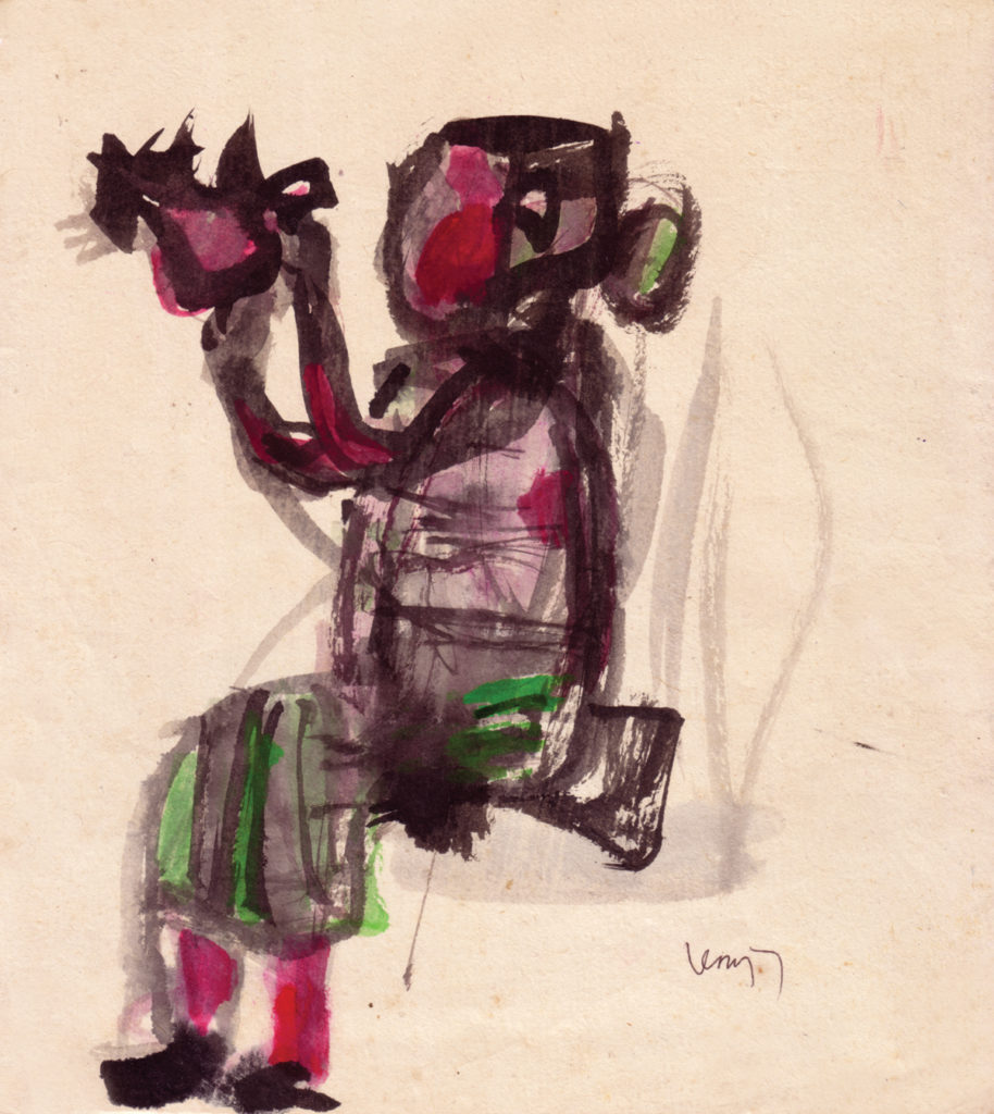 <em><strong>Untitled</strong></em>.Watercolour on paper 7.75 x 8.5 inches, 1958