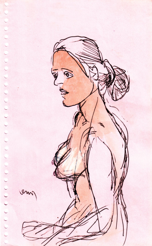 Ballpoint pen, watercolour and crayon on paper, 5.5 x 8.75 inches, 2007