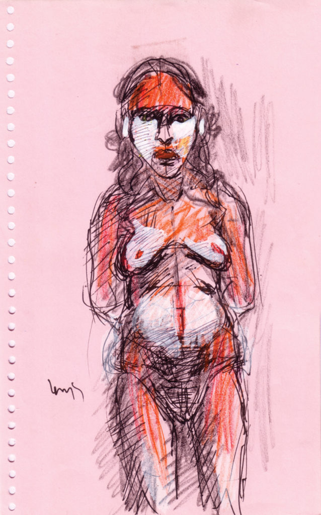 <em<strong>Untitled</strong></em>. Ballpoint pen, watercolour and  crayon on paper, 5.5 x 8.75 inches, 2007