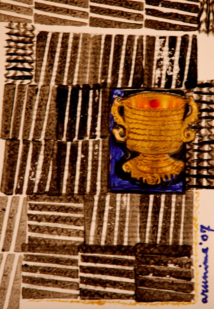 <em><strong>Printed Paper</strong></em>. Acrylic collage on printed paper, 8 x 11.5 inches, 2007