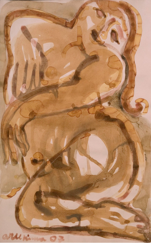 <em><strong> Face/body/soul 17</strong></em>. Vegetable colour on paper, 14.5 x 20.5 inches, 2007