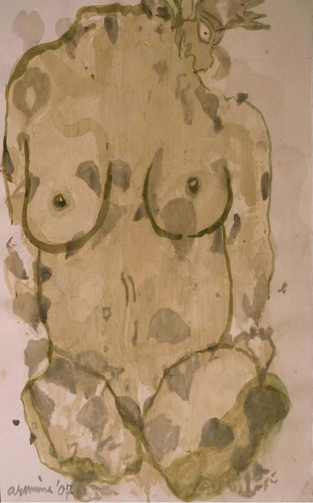<em><strong> Face/body/soul 18</strong></em>. Vegetable colour on paper, 14 x 19.5 inches, 2007