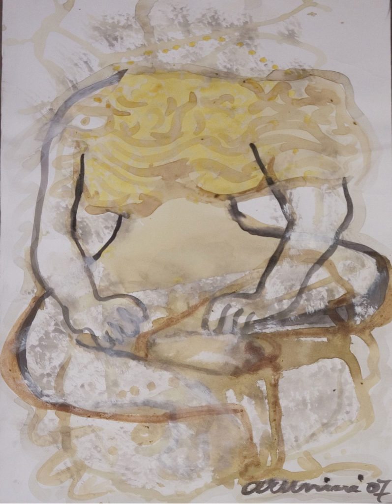 <em><strong>Face/body/soul 19</strong></em>. Vegetable colour and gouache on paper, 14.5 x 20.55 inches, 2007