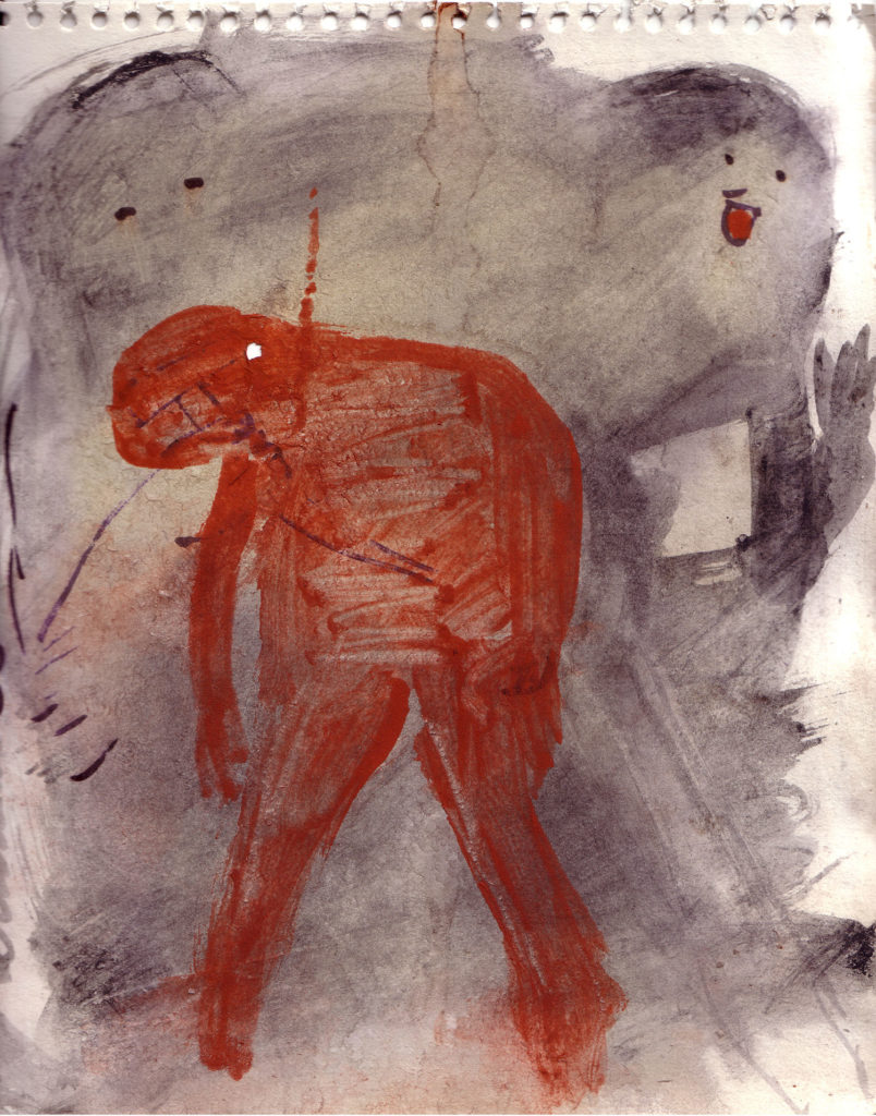 <strong><em>Violence and Victim 5</em></strong>. Vegetable colour on paper, 8.75 x 10.75 inches, 2006
