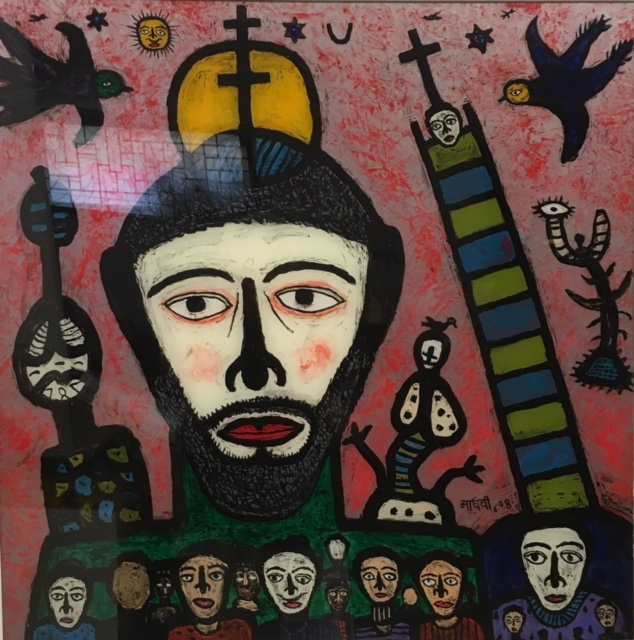 <em><strong>Christ Came To My Village, 2</strong></em>. Reverse painting on acrylic sheet, 36 x 36 inches, 2008