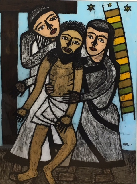<em><strong>Christ Travelling With Disciples, 3</strong></em>. Reverse painting on acrylic sheet, 36 x 48 inches, 2010