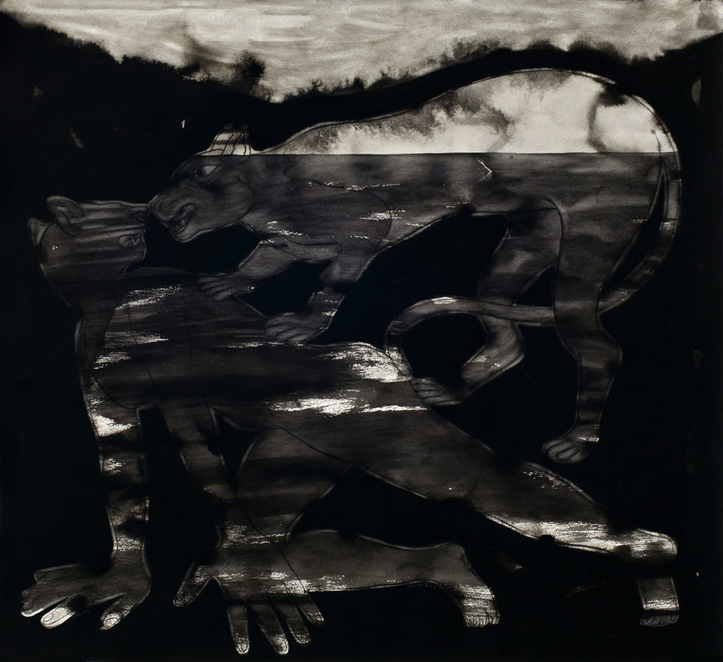 <em><strong>Dark Age Series [1]</strong></em>. Gouache and Japanese ink on Fabriano paper, 60 x 56 inches, 2013
