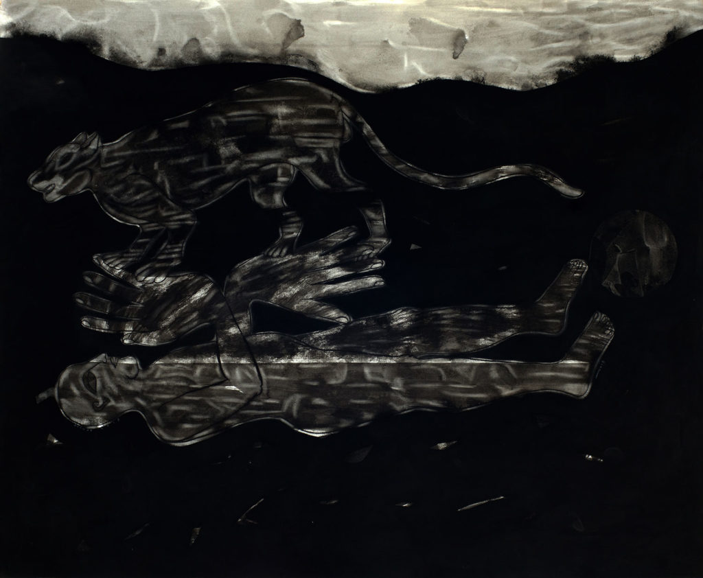 <em><strong>Dark Age Series[3]</strong></em>. Gouache and Japanese ink on Fabriano paper, 60 x 48 inches, 2013