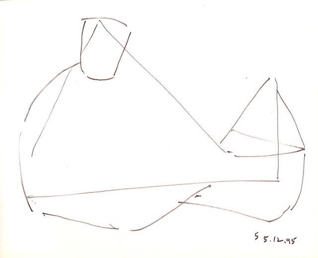 <em><strong>Untitled</strong></em>. Pen and ink on paper, 8.5 x 10.24 inches, 5.12.95